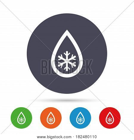Defrosting sign icon. From ice to water symbol. Round colourful buttons with flat icons. Vector