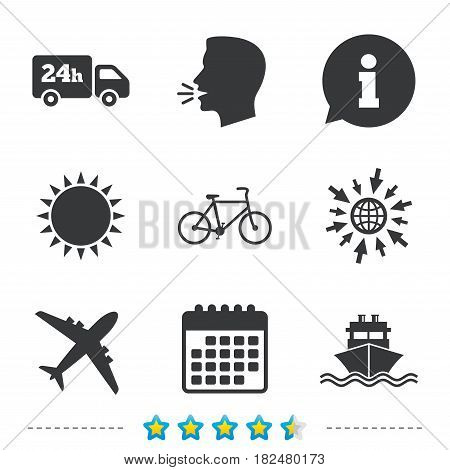 Cargo truck and shipping icons. Shipping and eco bicycle delivery signs. Transport symbols. 24h service. Information, go to web and calendar icons. Sun and loud speak symbol. Vector