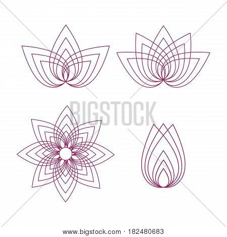 Vector lotus flower outline set on white background.