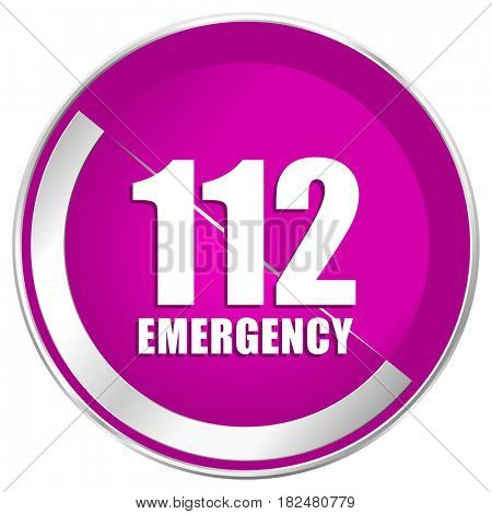 Number emergency 112 web design violet silver metallic border internet icon.