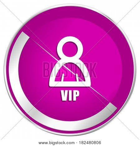 Vip web design violet silver metallic border internet icon.
