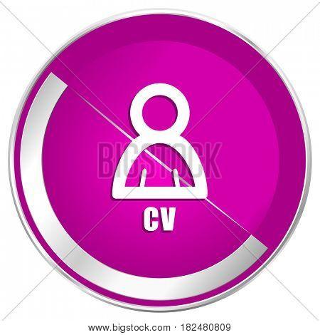 Cv web design violet silver metallic border internet icon.