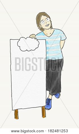 hand draw doodle woman stand with signboard isolated copy space for text in signboard illustration watercolor style