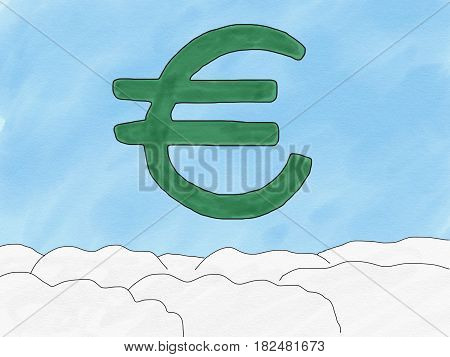 Abstract hand draw doodle euro sign on sky background weak of euro currency concept illustration copy space for text watercolor paint style children cartoon book style