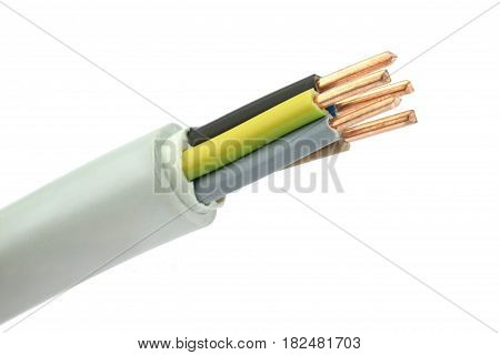 Electric cable on a white background. Macro shot