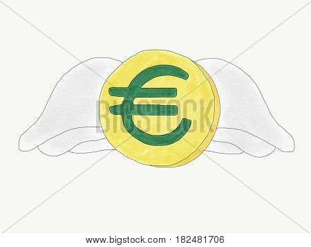 Abstract hand draw doodle euro coin with wings isolate weak of euro currency concept illustration copy space for text watercolor paint style children cartoon book style