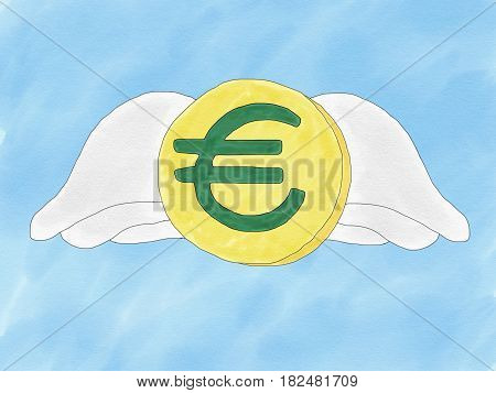 Abstract hand draw doodle euro coin with wings on blue background weak of euro currency concept illustration copy space for text watercolor paint style children cartoon book style
