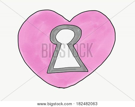 abstract hand draw sketch doodle key hole on heart isolate illustration watercolor paint style digital art children cartoon book style