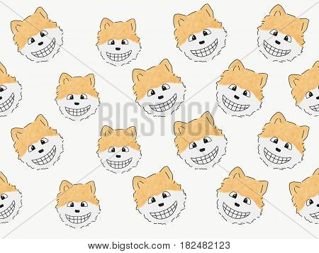 abstract hand draw sketch doodle pomeranian dog smile face isolate illustration watercolor paint style digital art children cartoon book style
