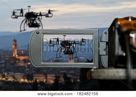 flying drone and LCD display screen on a High Definition TV camera, movie