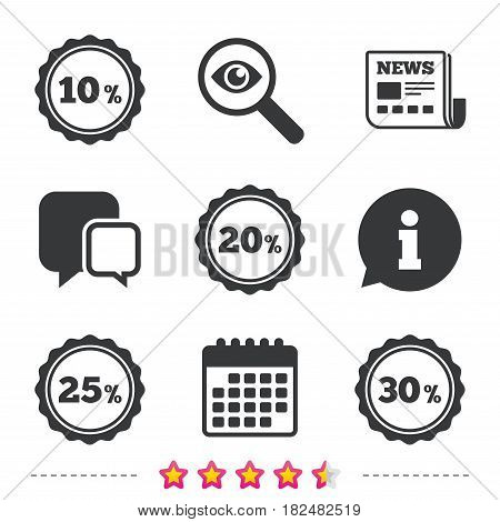 Sale discount icons. Special offer stamp price signs. 10, 20, 25 and 30 percent off reduction symbols. Newspaper, information and calendar icons. Investigate magnifier, chat symbol. Vector
