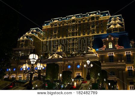 MACAU - APRIL 2: Facade of the Parisian casino on April 2, 2017 in Macau. Macau is famous for casino and luxury resorts.