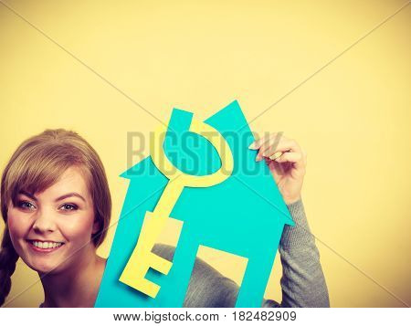 Blonde Woman With House And Key.