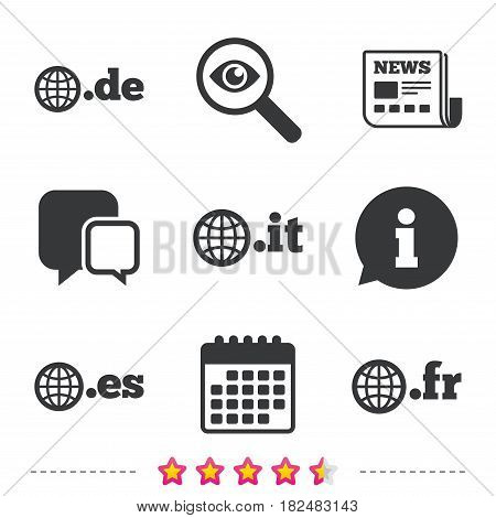 Top-level internet domain icons. De, It, Es and Fr symbols with globe. Unique national DNS names. Newspaper, information and calendar icons. Investigate magnifier, chat symbol. Vector
