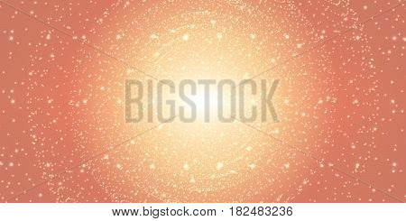 Vector infinite space background. Matrix of glowing stars with illusion of depth and perspective. Sparkling stars of nebula. Abstract futuristic hyperspace universe on light orange background.