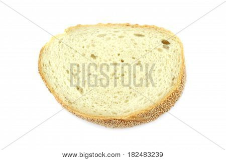 Wheat bread slice isolated on white background.