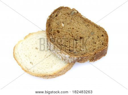 Wheat and rye bread slices on white background