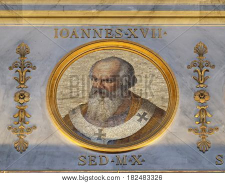 ROME - SEPTEMBER 05, 2016: The icon on the dome with the image of Pope John XVII was Pope for about seven months from 16 May to 6 November 1003, basilica of Saint Paul Outside the Walls, Rome