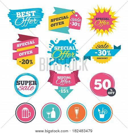 Sale banners, online web shopping. Alcoholic drinks icons. Champagne sparkling wine and beer symbols. Wine glass and cocktail signs. Website badges. Best offer. Vector