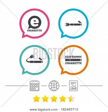 E-Cigarette with plug icons. Electronic smoking symbols. Speech bubble sign. Calendar, internet globe and report linear icons. Star vote ranking. Vector