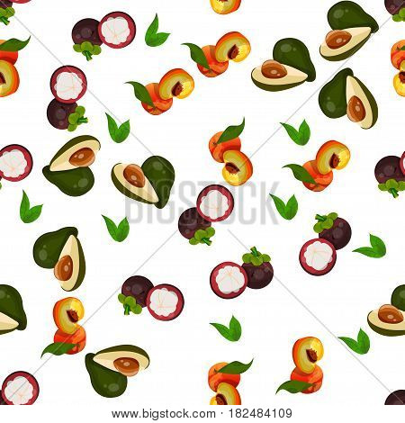 Very high quality original trendy vector seamless pattern with peach, avocado, mangosteen, exotic tropical fruit