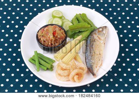 Green Chili Dip As Nam Prik Num With Set.