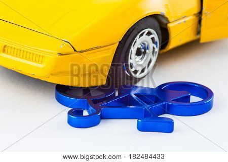 Car and bicycle traffic accident concept isolated in white background