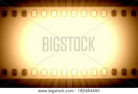 Film strips and light rays close up image