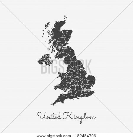 United Kingdom Region Map: Grey Outline On White Background. Detailed Map Of United Kingdom Regions.