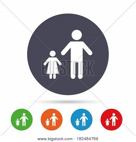 One-parent family with one child sign icon. Father with daughter symbol. Round colourful buttons with flat icons. Vector