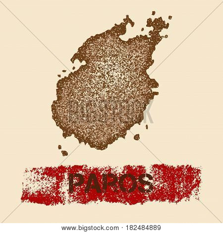 Paros Distressed Map. Grunge Patriotic Poster With Textured Island Ink Stamp And Roller Paint Mark,