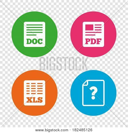 File document and question icons. XLS, PDF and DOC file symbols. Download or save doc signs. Round buttons on transparent background. Vector