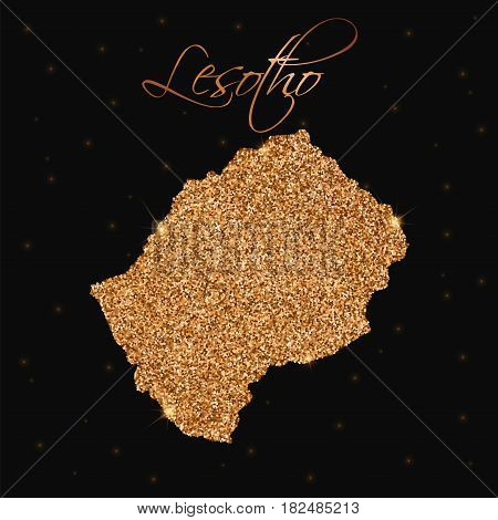 Lesotho Map Filled With Golden Glitter. Luxurious Design Element, Vector Illustration.