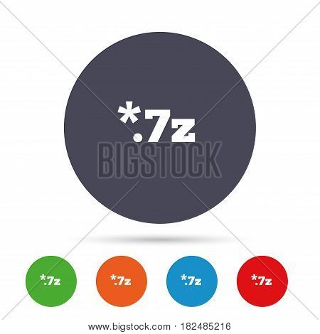 Archive file icon. Download compressed file button. 7z zipped file extension symbol. Round colourful buttons with flat icons. Vector