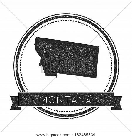 Montana Vector Map Stamp. Retro Distressed Insignia With Us State Map. Hipster Round Rubber Stamp Wi