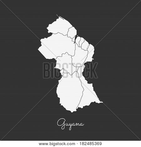 Guyana Region Map: White Outline On Grey Background. Detailed Map Of Guyana Regions. Vector Illustra