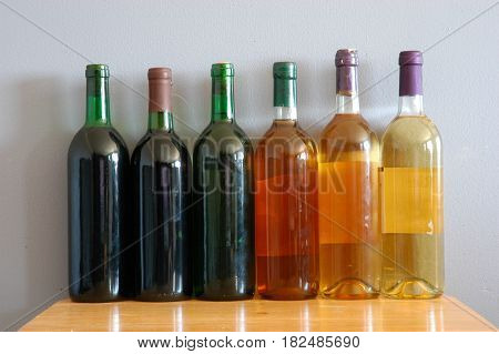 wine bottles color drink  row  table  food
