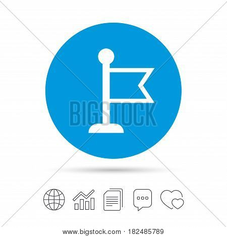 Flag pointer sign icon. Location marker symbol. Copy files, chat speech bubble and chart web icons. Vector