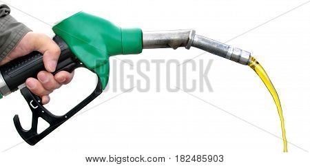 Man holding fuel pump on white background