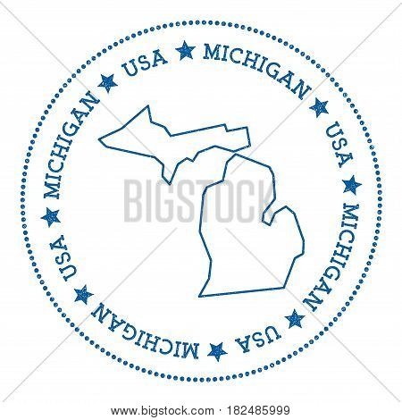 Michigan Vector Map Sticker. Hipster And Retro Style Badge With Michigan Map. Minimalistic Insignia