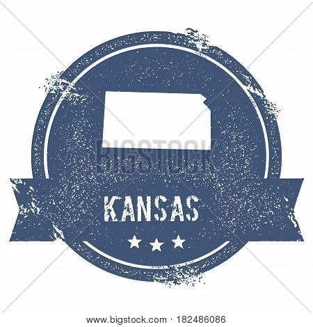 Kansas Mark. Travel Rubber Stamp With The Name And Map Of Kansas, Vector Illustration. Can Be Used A
