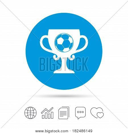 Football ball sign icon. Soccer Sport symbol. Winner award cup. Copy files, chat speech bubble and chart web icons. Vector