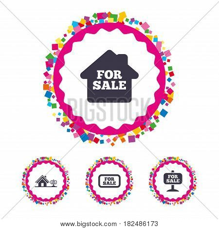 Web buttons with confetti pieces. For sale icons. Real estate selling signs. Home house symbol. Bright stylish design. Vector