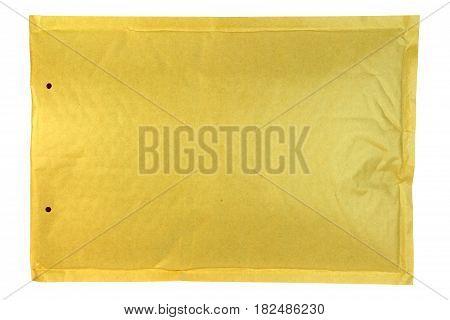 Bubble yellow envelope isolated on white background.