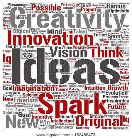 Conceptual creative new ideas or brainstorming square word cloud isolated on background