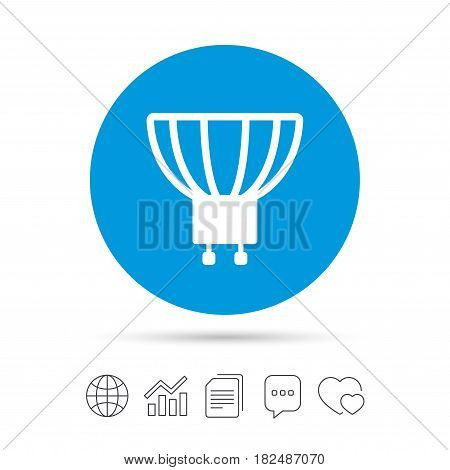 Light bulb icon. Lamp GU10 socket symbol. Led or halogen light sign. Copy files, chat speech bubble and chart web icons. Vector