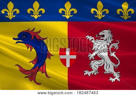 Flag of Rhone-Alpes is a former administrative region of France. 3d illustration