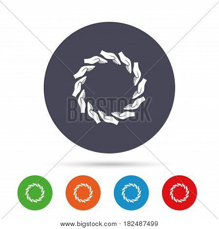 Donation hands circle sign icon. Charity or endowment symbol. Human helping hand palm. Round colourful buttons with flat icons. Vector