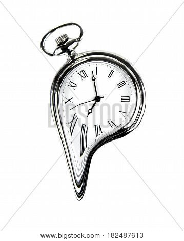 The time melting.. Surreal style image. Isolated on white background