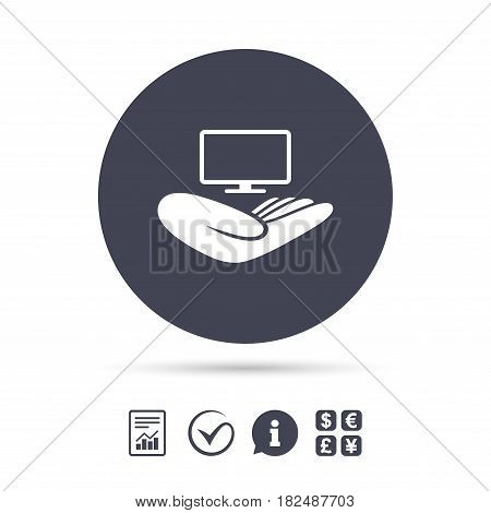 TV insurance sign icon. Hand holds wide-screen TV symbol. Report document, information and check tick icons. Currency exchange. Vector
